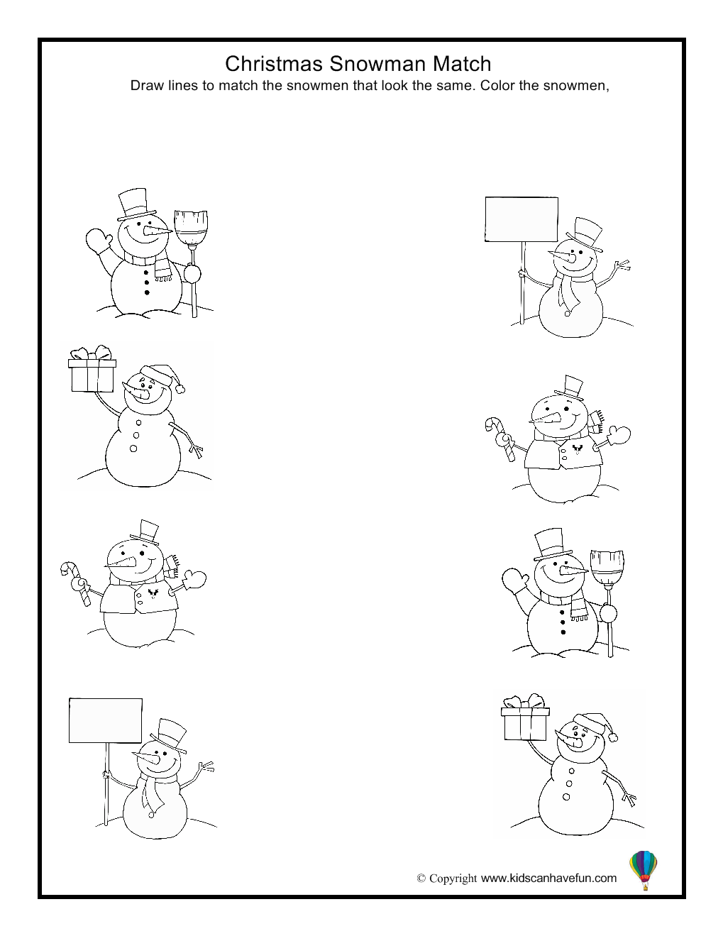 christmas snowman match worksheet christmas activities with diy gift ideas games worksheets. Black Bedroom Furniture Sets. Home Design Ideas