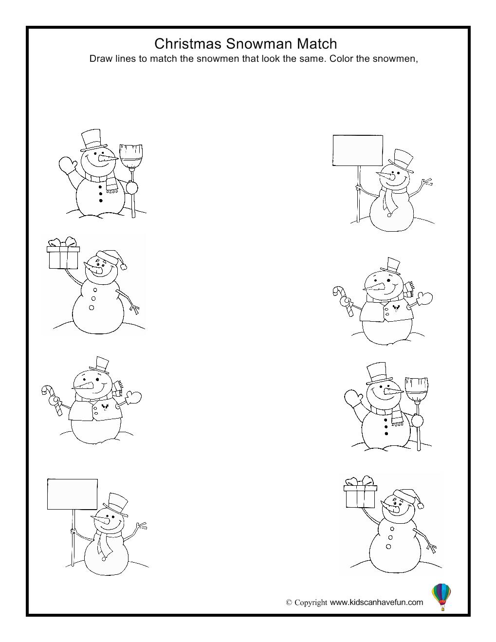 worksheet Snowmen At Night Worksheets christmas snowman match worksheet aa preschool worksheets worksheet