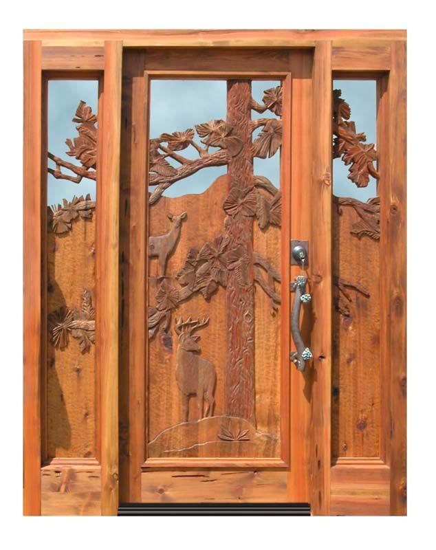 Carved door door w side lights custom cabin door for Hand carved wood doors
