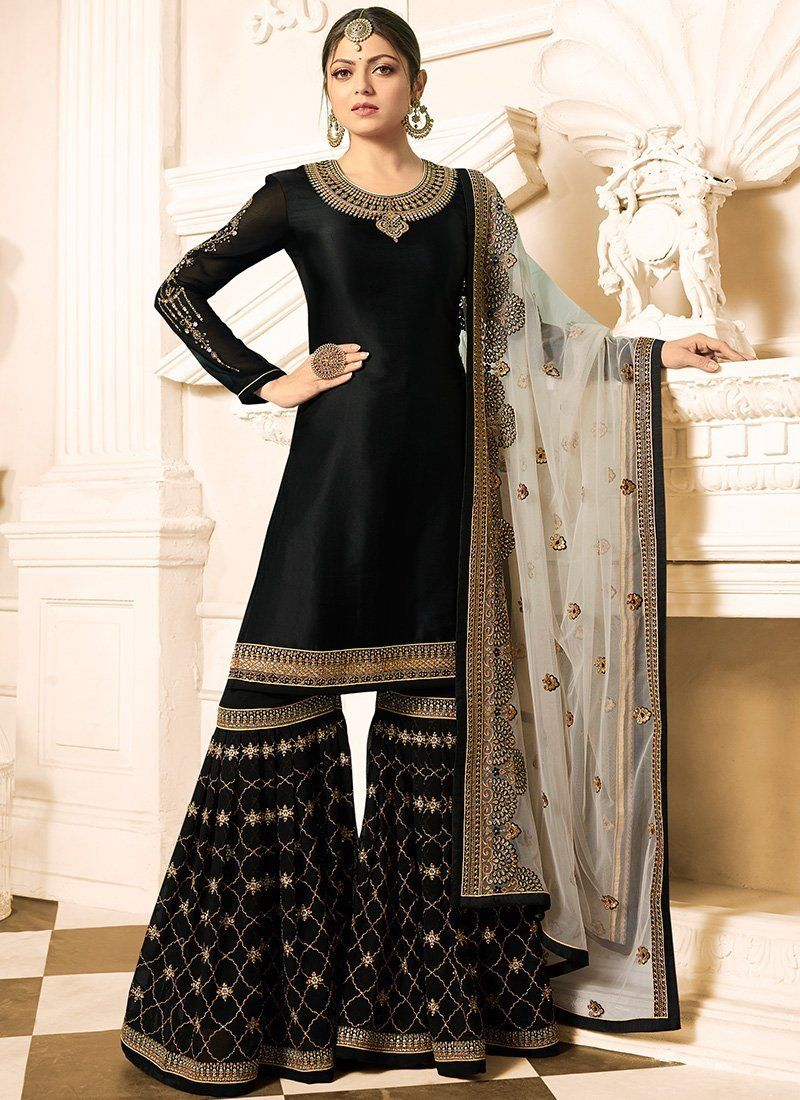 918a055b19 Designer Black Madhubala Gharara Palazzo Suit. Satin Georgette top with  Embroidery Work and Georgette bottom, Georgette Dupatta.