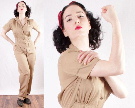 Vtg Rosie the Riveter coveralls jumpsuit grease by BGSvintage