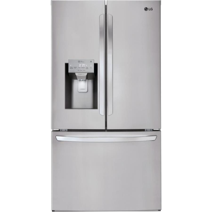 Lg Smart Wi Fi Enabled 22 1 Cu Ft Counter Depth French Door Refrigerator With Dual Ice Maker Fingerprint Resistant Stainless Steel Energy Star Lowes Com French Door Refrigerator Counter Depth French Door Refrigerator Counter Depth