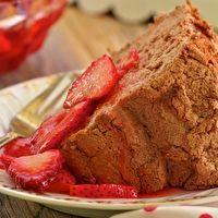 Chocolate Angel Food Cake with Strawberries by Trisha Yearwood