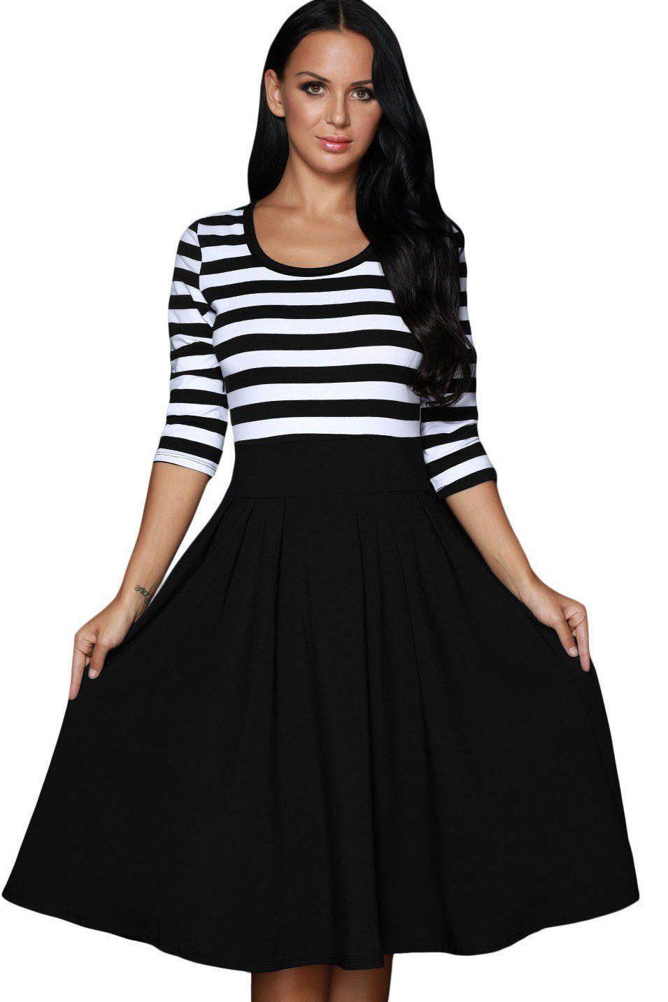 Robe Patineuse Manches Longues Mi Longue Raye Noir Blanc Retro ... 368df8dd928