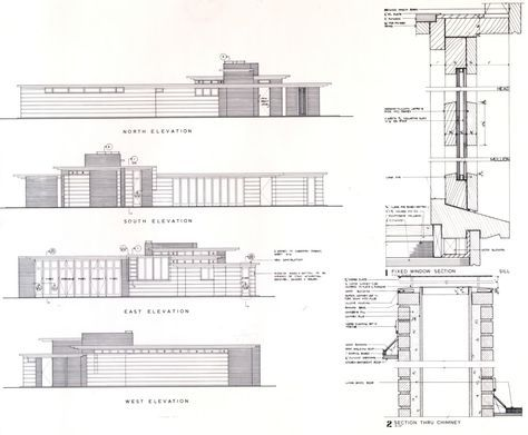 elevations and wall section. herbert jacobs house i. madison