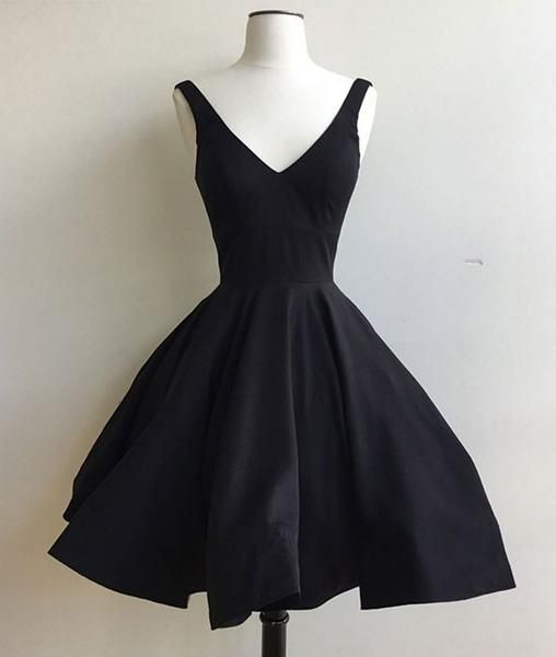 042763211a79d Simple v neck black short prom dress, cute homecoming dress, Customized  service and Rush order are available