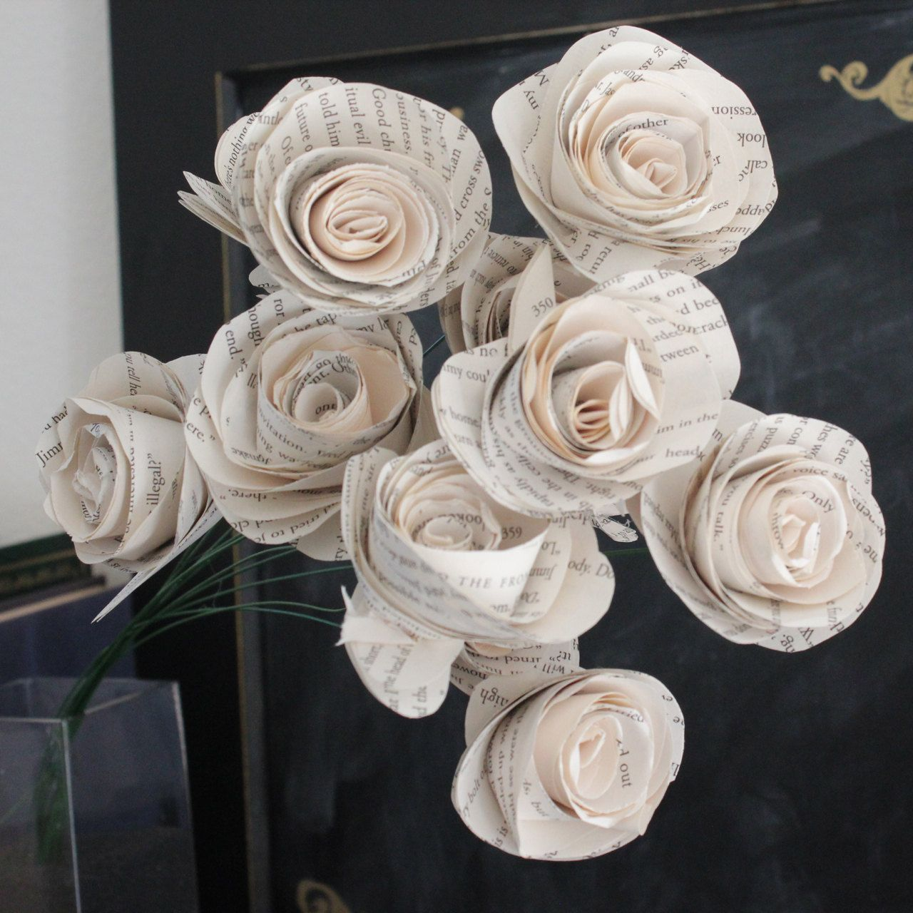 Book Page Roses 1 Dozen Large Paper Roses For Wedding Or Home