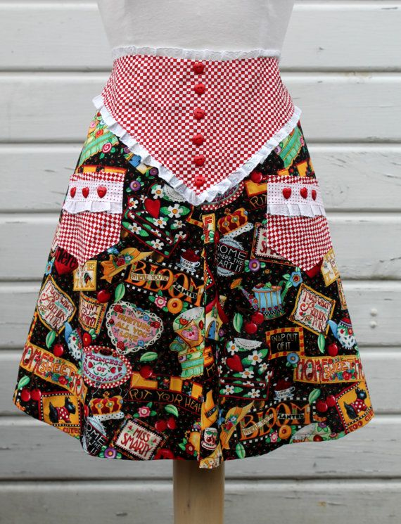 Women's Half Apron Mary Engelbreit Sayings, Tea Pots, Scottie Dogs, Cherries Print & Red and White Check, Heart Buttons, Eyelet Lace