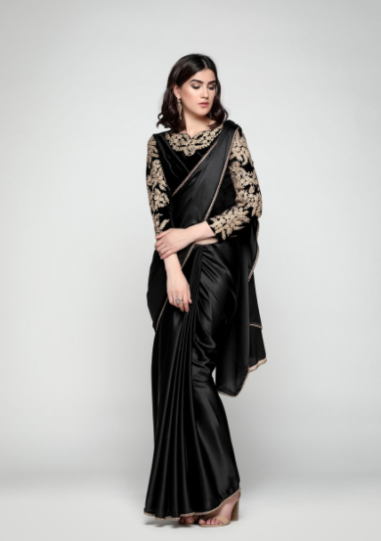 0961459ec Black Satin Saree With Velvet Blouse | Salwaar Suits for Royals I ...