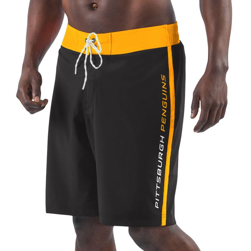 74c464f557 Pittsburgh Penguins G-III Sports by Carl Banks Endurance Swim Trunks -  Black/Yellow