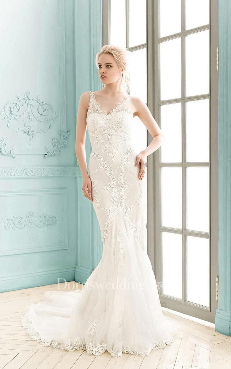 Dorris Wedding - #Dorris Wedding V-neck Sleeveless Lace Sheath ...