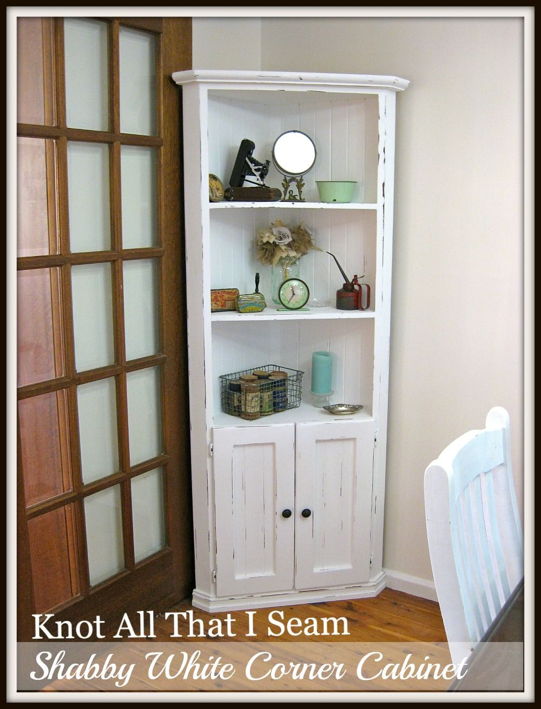 White Farmhouse Corner Cabinet