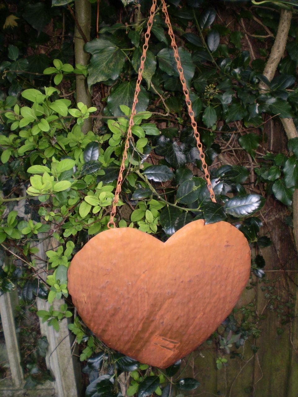 Vintage Romantic Rustic Metal hanging Heart decoration | Gardens ...
