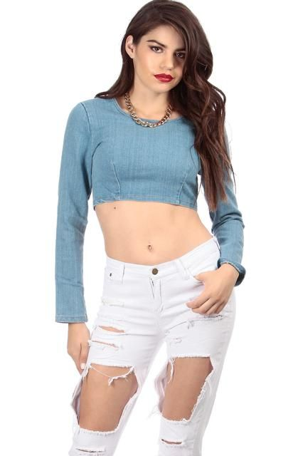 ff4c4512d9966 CICI HOT  Long Sleeve Denim Crop Top Buy Now  36.99 Find at Faearch ...
