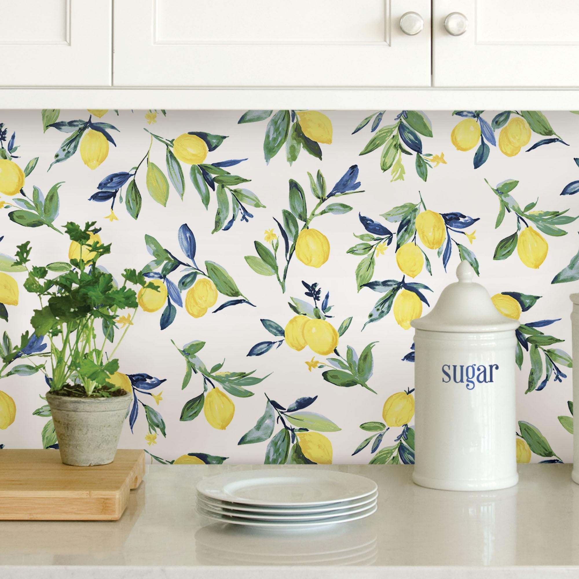 Nuwallpaper Lemon Drop Self Adhesive Wallpaper Peel And Stick Wallpaper Nuwallpaper Lemon Decor