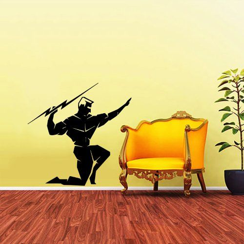 Greek God Zeus Throwing a Bolt of Lightning Wall Decals Vinyl ...