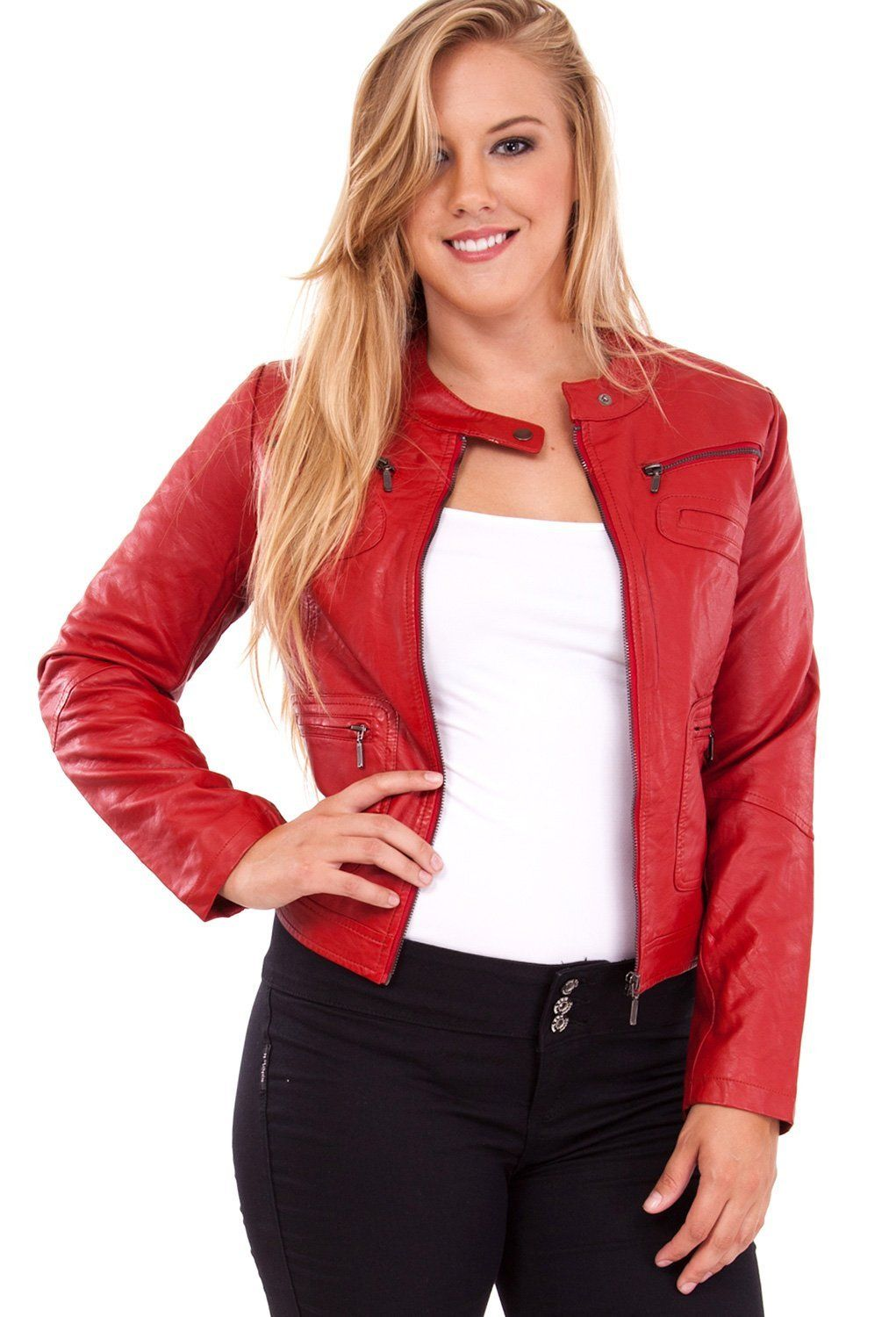 12b61e6a3d plus-size-red-leather-jacket