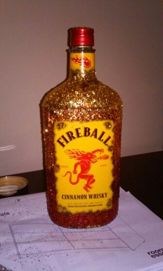 Decorated Alcohol Bottles For Birthday 21St Birthday Present Fireball Bottle Covered In Glitter Easy To