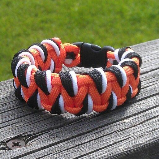 Tiger Pattern Laced Solomon Bar Paracord Bracelet Paracord