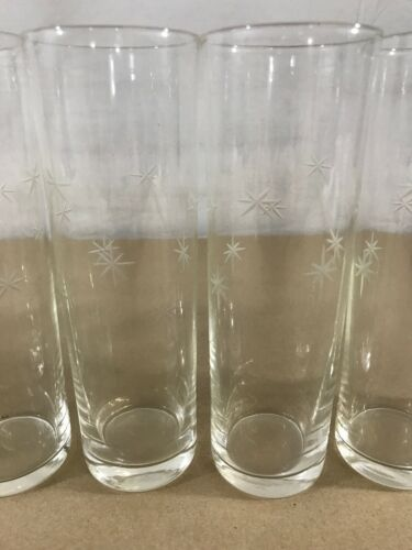 Atomic Star Vintage Tumbler Drinking Glasses Set Of 10 Clear Etched Cups 7 H2 Ebay Drinking Glasses Stemless Wine Glass Wine Glass