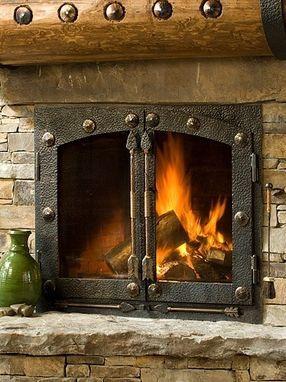 custom made iron fireplace doors and handles cabin fireplace rh pinterest com cast iron fireplace cleanout door custom cast iron fireplace doors