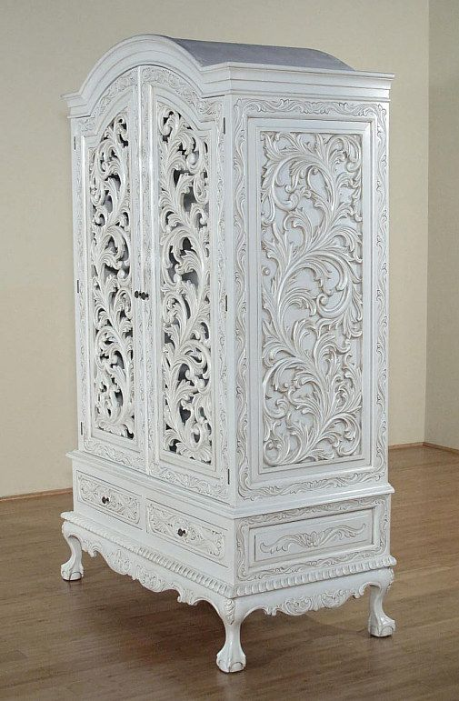 White Carved Armoire   French Style