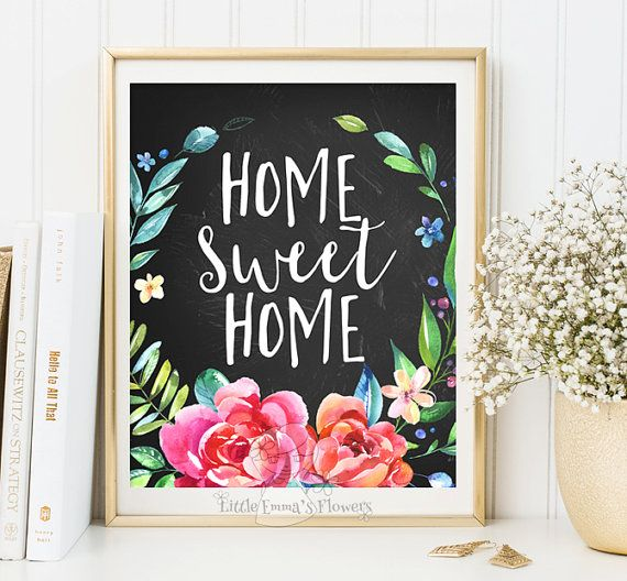 Calligraphy quotes home sweet home print entrance wall art for Home sweet home quotes