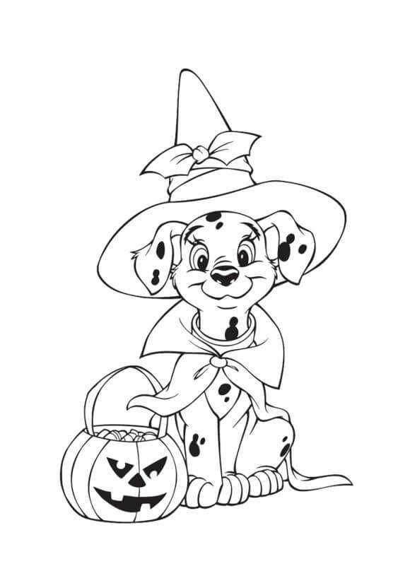 Cute Dogs Halloween Coloring Pages