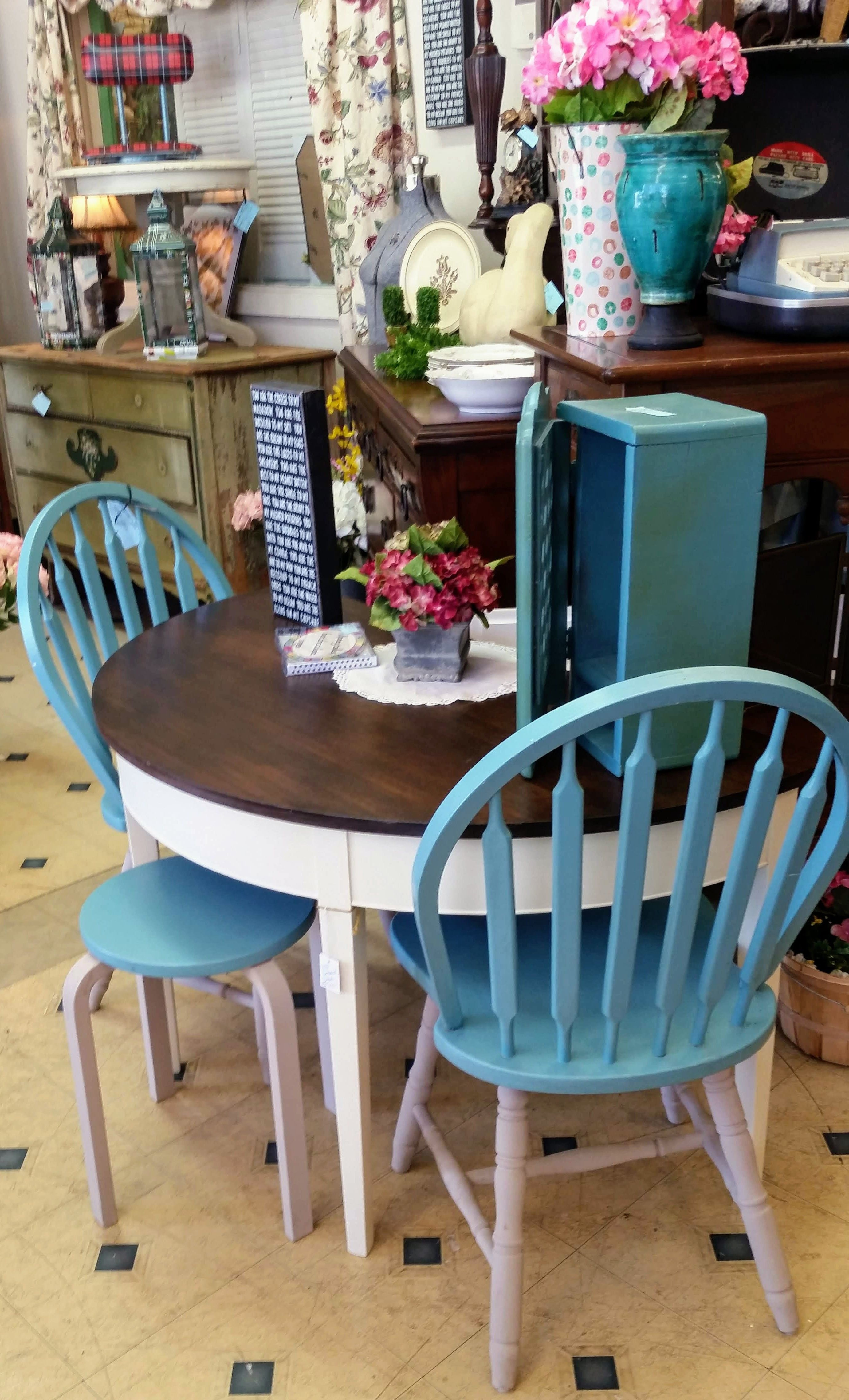 Painted dining room table and chairs in blue turquoise ...