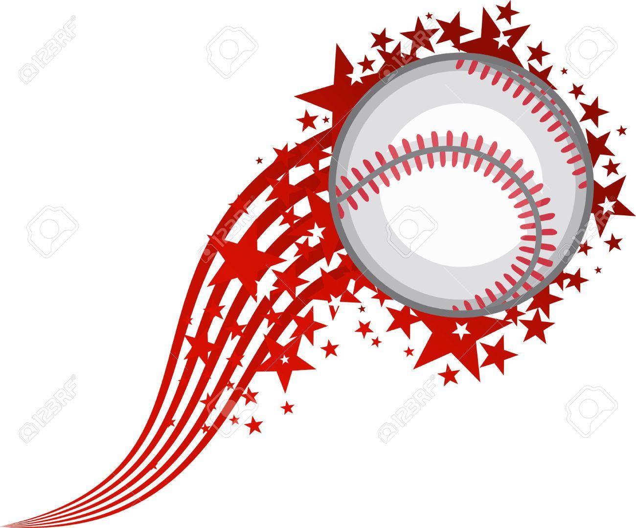 Baseball flying. Clip art of home