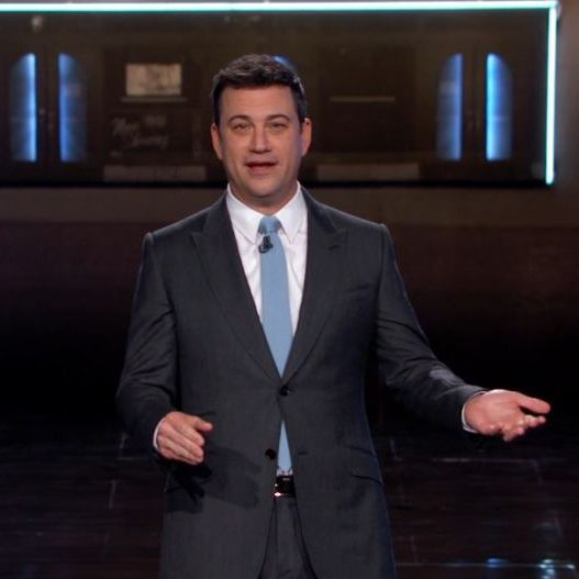 Jimmy Kimmel in one of his charcoal grey suits, paired ...