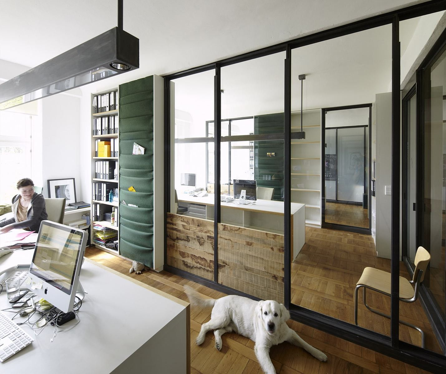 Interior Contemporary Home Office With Interior Glass Wall