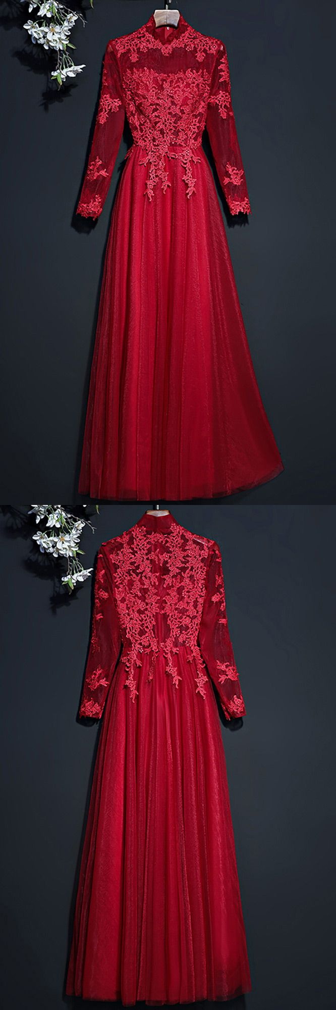 Vintage lace high neck prom party dress with long sleeves myx