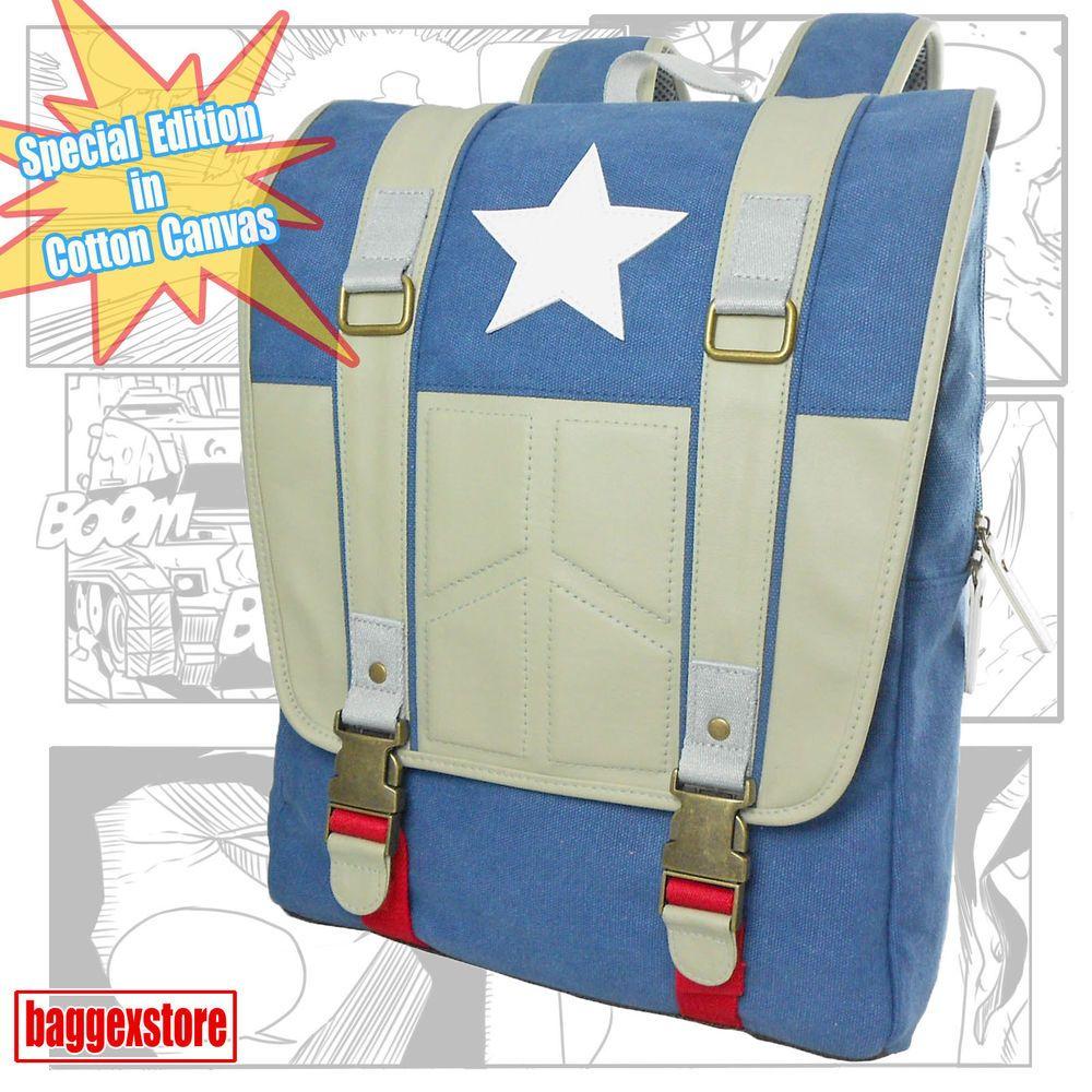 Captain America Canvas Backpack Youth Rucksack Book Bag Teenager School Daypack #BaggexStore #Backpack