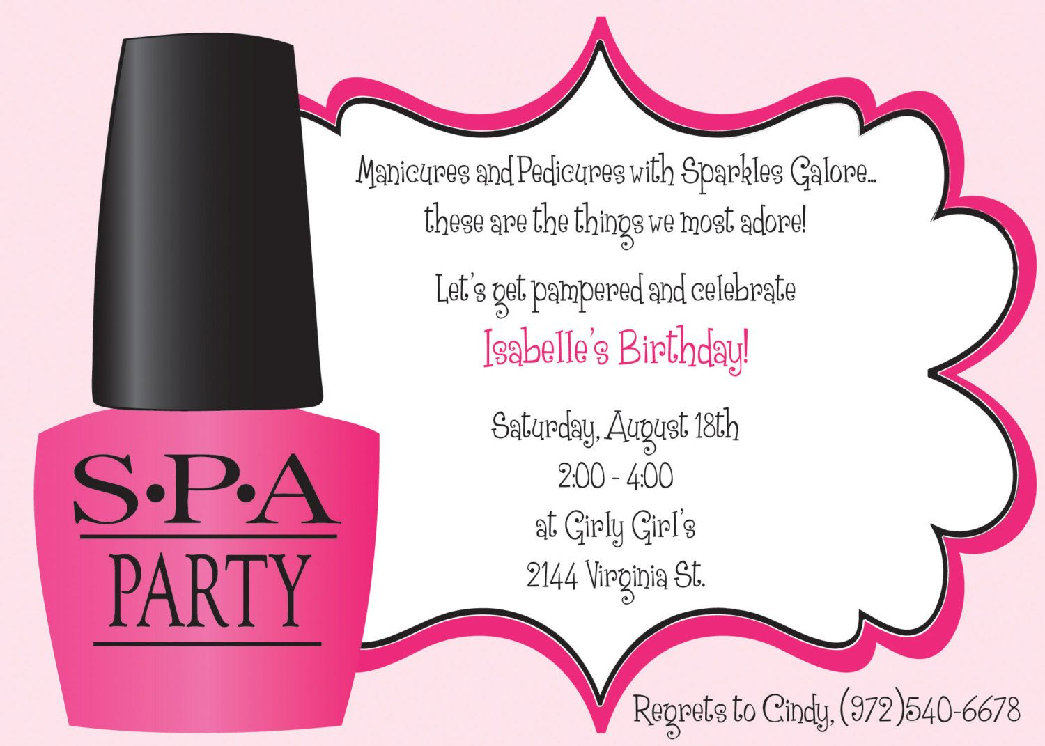 Ooh La La Spa Party Girls Birthday Invitation INCLUDES Return