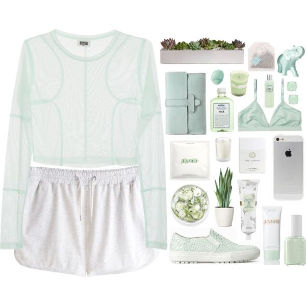 Mint Girl by soygabbie on Polyvore featuring polyvore fashion style Monki Zara Forever New La Mer Tocca Beauty Laura Mercier Eos John Allan's Essie A.P.C.