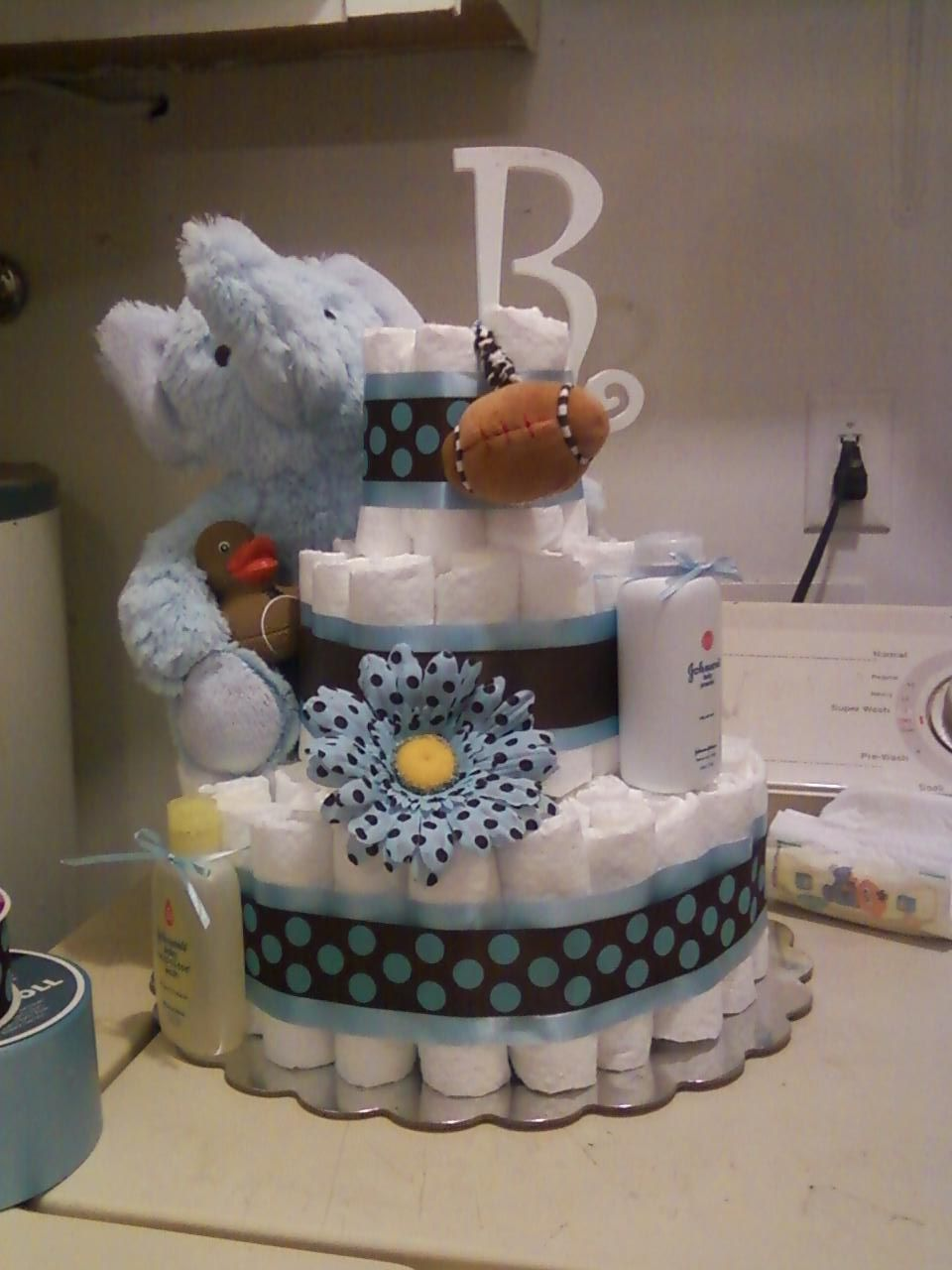 My sister in law did a fabulous job with this diaper cake