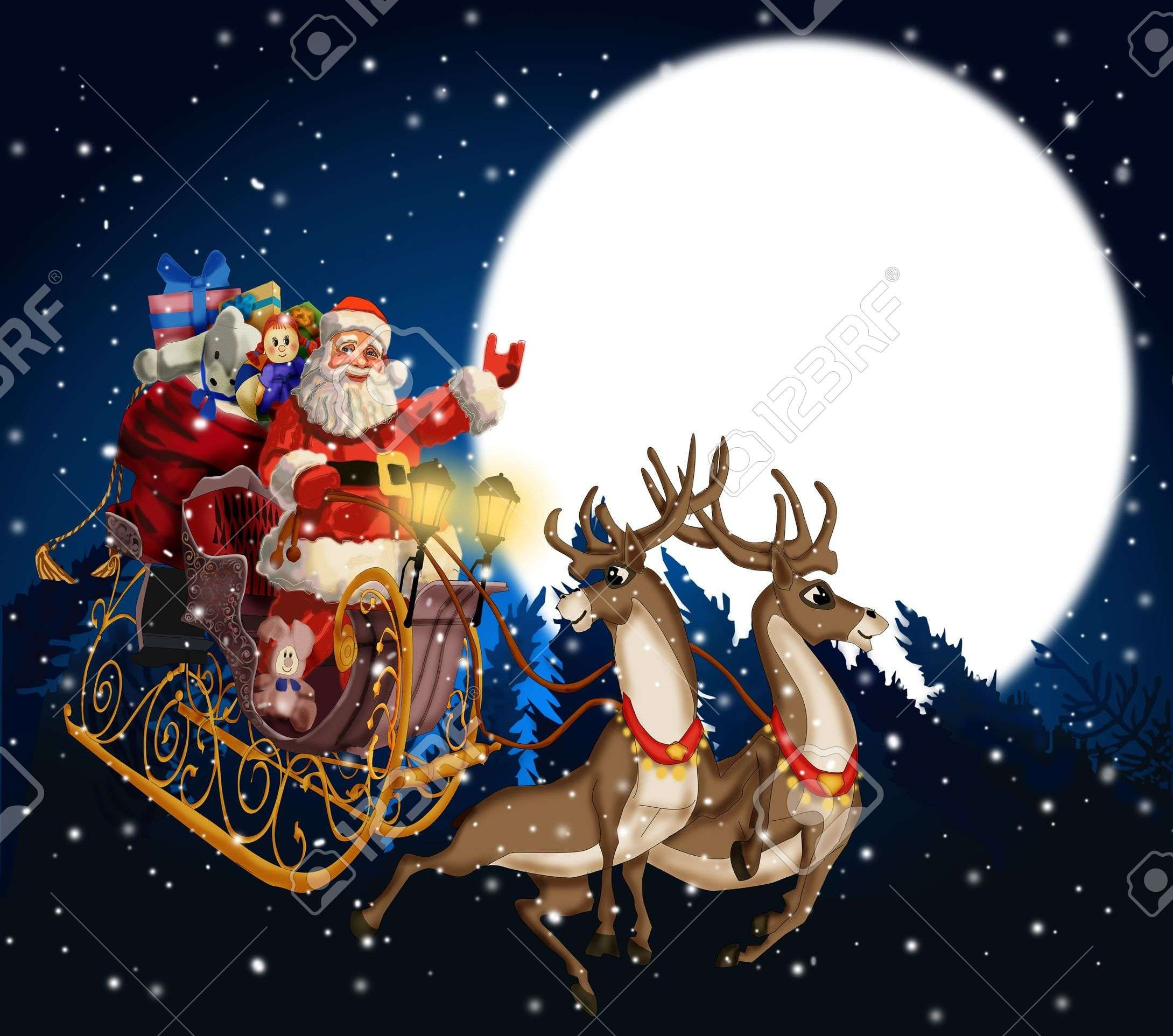 Christmas Background With Santa Claus In A Sleigh With Reindeer Christmas Wallpaper Backgrounds Santa Claus Wallpaper Santa And Reindeer