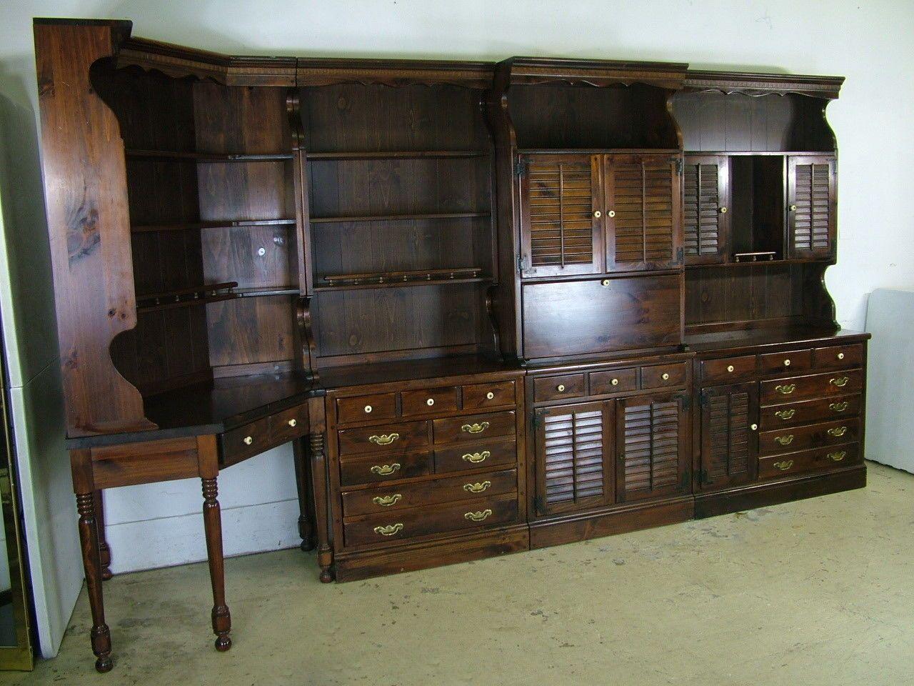 1970 Ethan Allen Old Tavern Antiqued Pine Wall Plan Bar Dresser Bookcase Corner Ebay