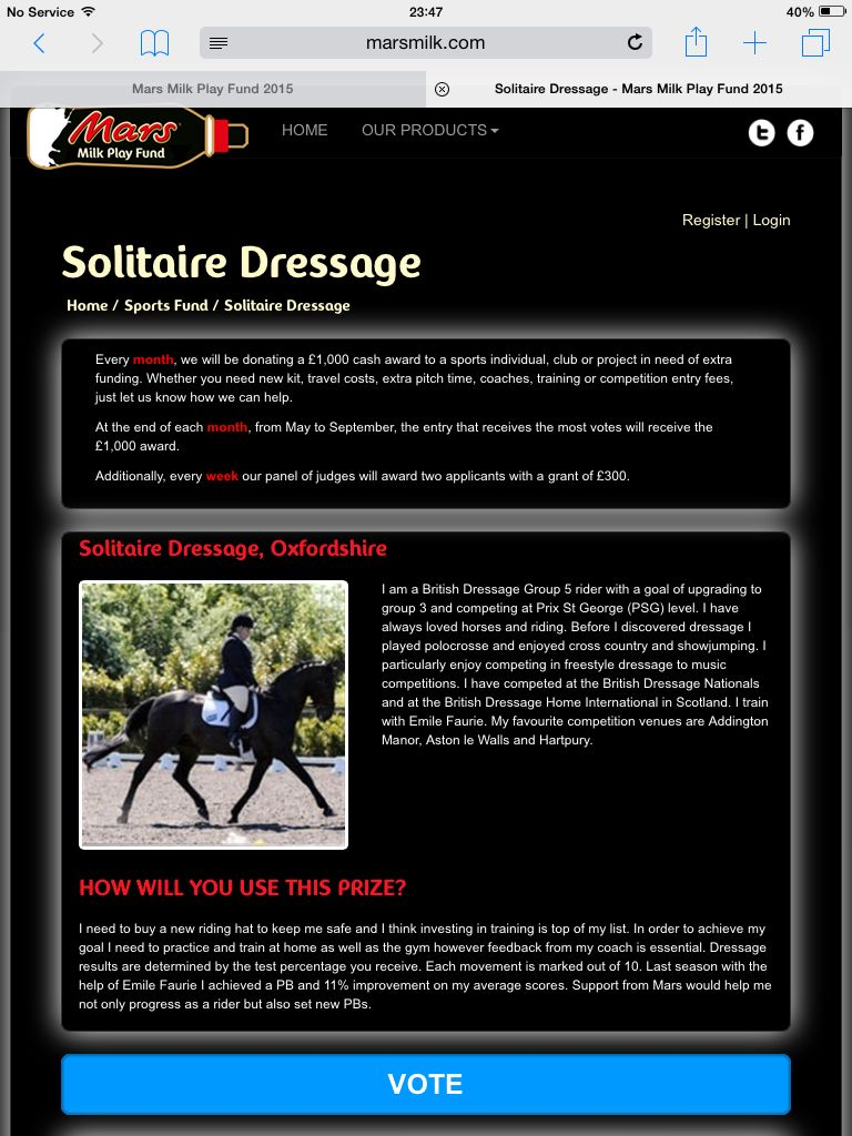 Please vote for me in the Mars Milk Fund http://www.marsmilk.com/play-fund-2015/clubs/solitaire-dressage