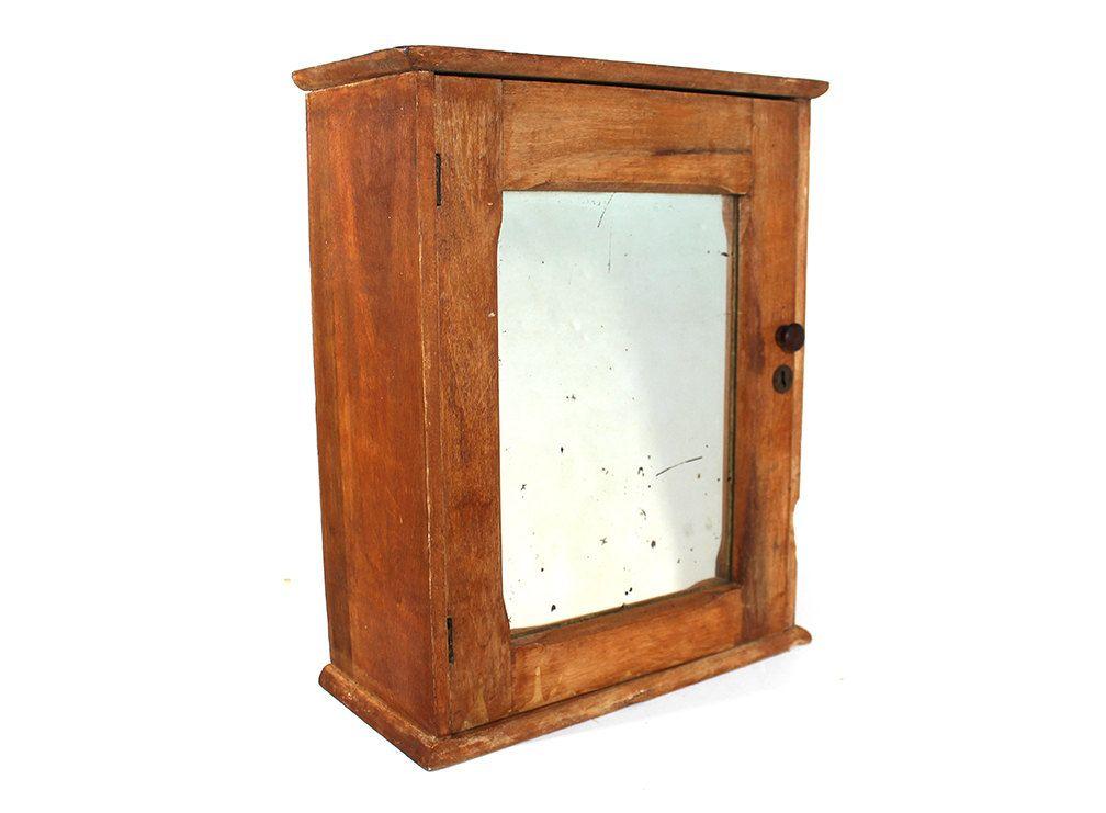 Vintage Wooden Medicine Kitchen Mirror