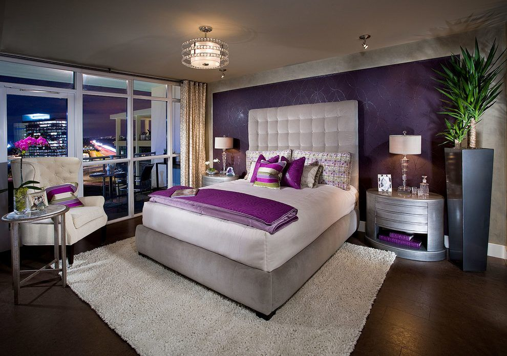 fabulous orange accent wall bedroom | orange county purple metallic wallpaper with fabric shade ...