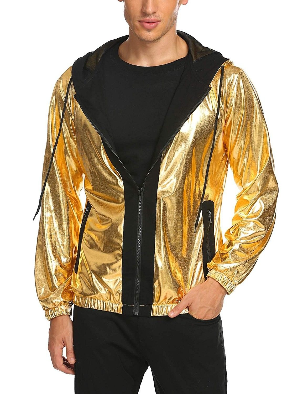 Men S Clothing Jackets Coats Lightweight Jackets Mens Prom Party Metallic Jacket Hooded Varsity Bo Prom For Guys Urban Outfitters Clothes Party Outfit Men [ 1500 x 1154 Pixel ]