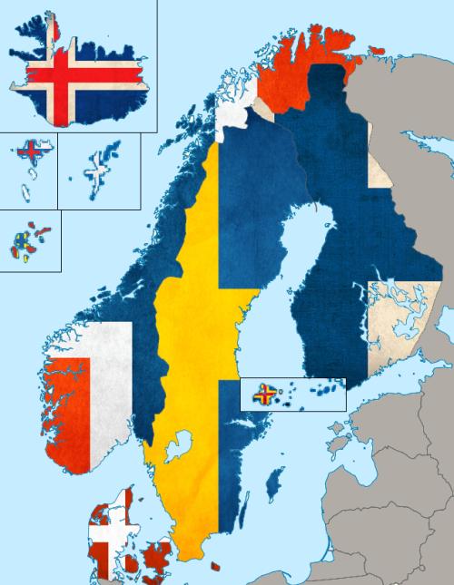 The Scandinavian cross map Aland Faroe Islands Shetland Islands