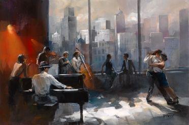 Pintura en lienzo de una pareja bailando tango con una orquesta versión 2   Arte del jazz, Bailarines de tango, Arte y musica