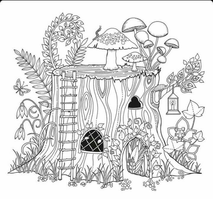 Tree Stump House With Images Garden Coloring Pages Free