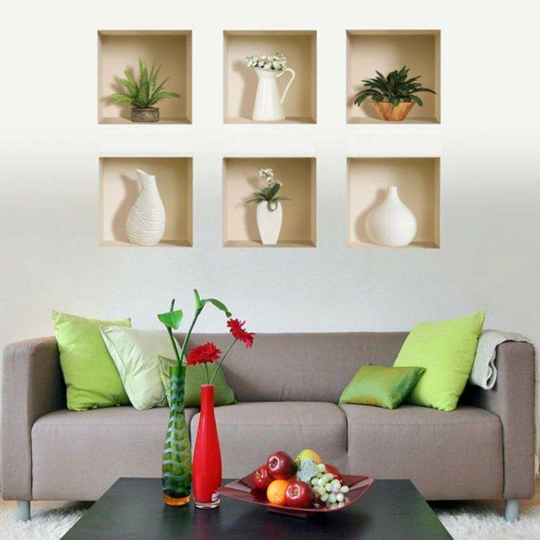 espace salon idée optimiser étagères canapé gris coussins table basse déco fleurs | Décoration ...