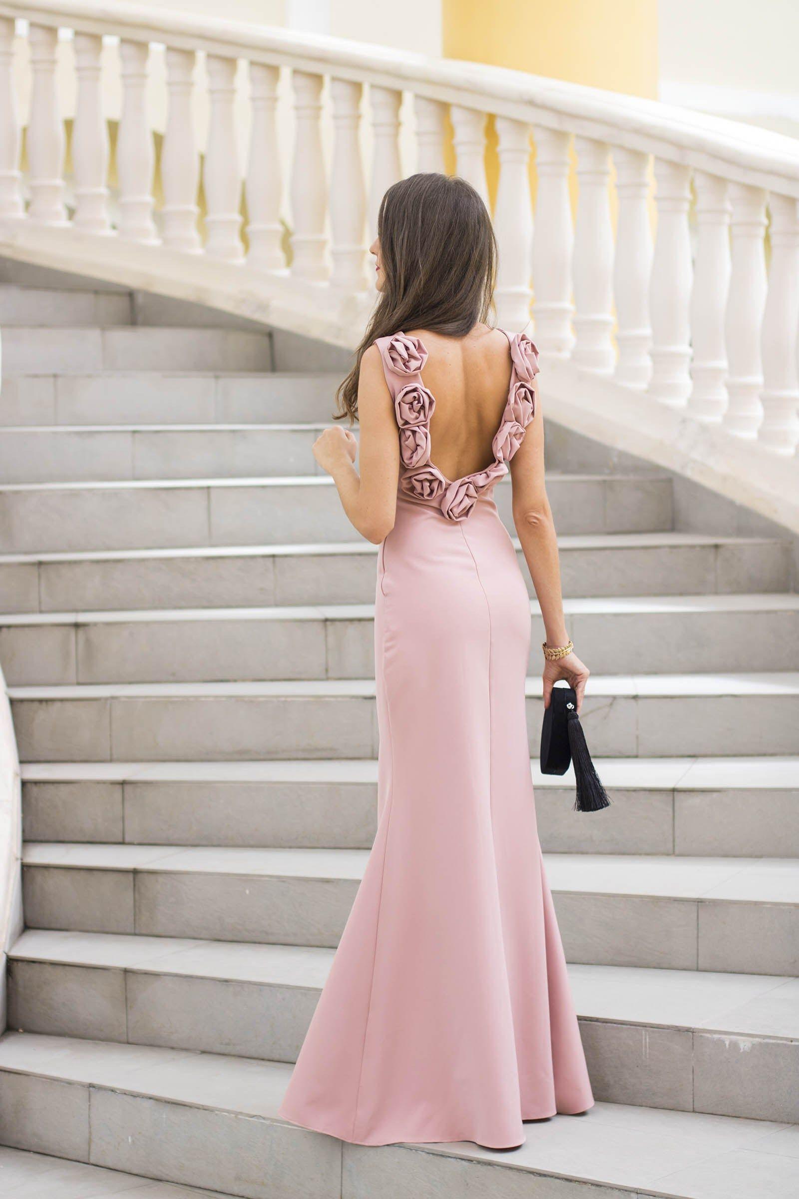 Invitada boda noche invierno estola vestido rosa largo | Dresses ...