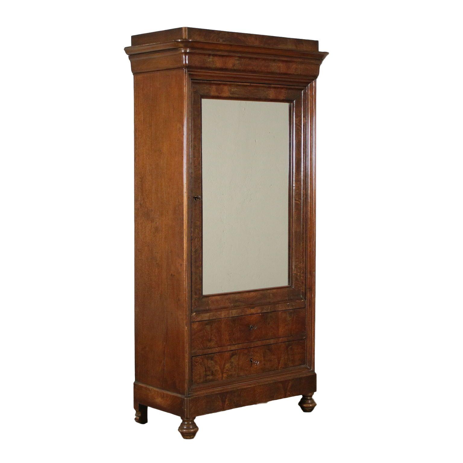 Walnut One Door Cupdoarb Italy 20th Century Armoire Antique Miroir Italie