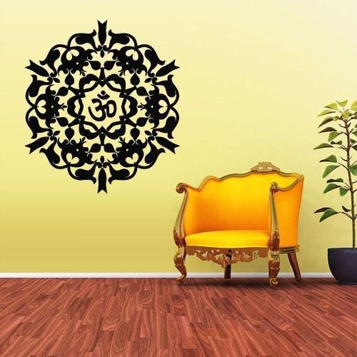 large size Cool wall art decal Yoga Mandala Om Indian Buddha Wall ...